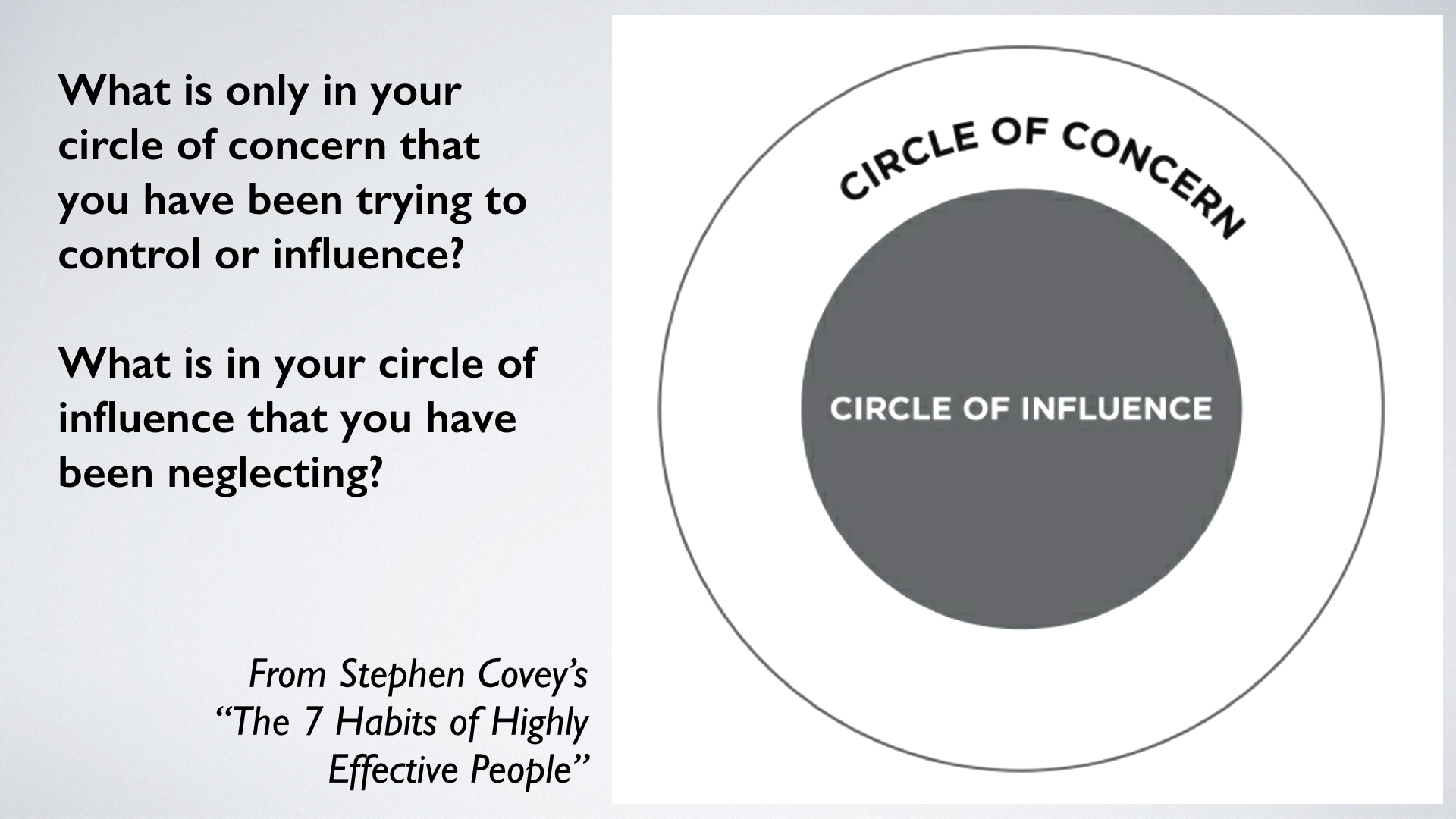 Circles of concern and influence